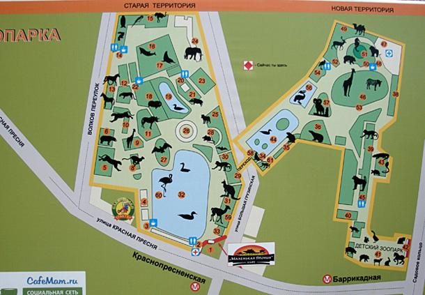 Схема московского зоопарка